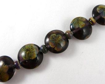 Set of Five Handmade Purple Glass with Raku Flowers Lentil Beads