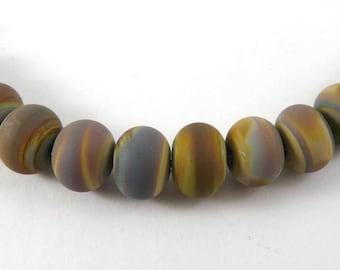 Set of Twelve Frosted Micro Raku Handmade Glass Accent Beads