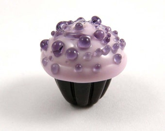 Tasty Handmade Glass Chocolate Cupcake Bead with Pink Frosting and Purple Sprinkles on Top
