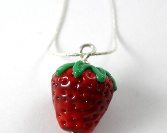 Handmade Glass Strawberry Bead That Dangles from a Simple Sterling Silver Chain