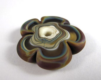 Free Shipping for this Handmade Frosted Raku Amber and Ivory Glass Flower Disk Bead