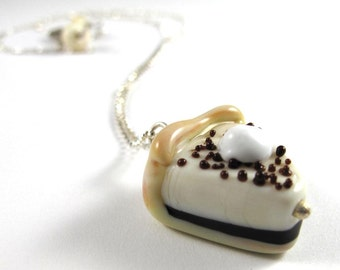 Free Shipping for this Necklace Made with a Handmade Glass Cheesecake Bead on a Sterling Silver Chain
