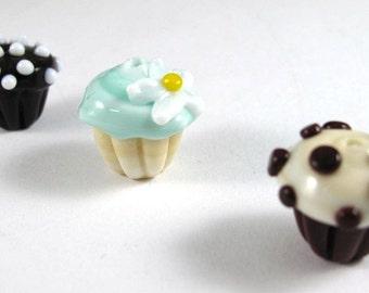 Trio of Tiny Handmade Glass Cupcake Beads