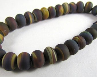 Free Shipping for this Set of Thirty Frosted Micro Raku Handmade Glass Accent Beads