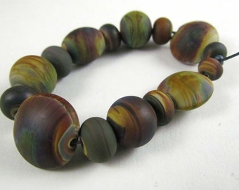 Free Shipping for this Set of Handmade Frosted Raku Glass Assorted Shape Beads