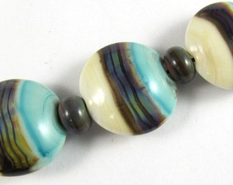 Free Shipping for this Handmade Copper Green Ivory and Raku Glass Lentil Bead Set