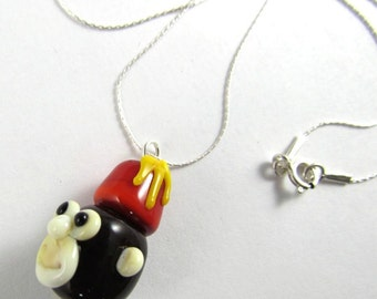 Free Shipping for this Handmade Lampwork Monkey Head Bead with a Fez That Dangles from a Sterling Silver Chain
