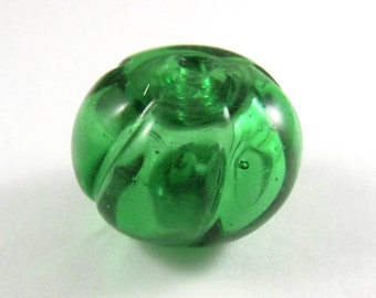 Gorgeous Handmade Hollow Recycled Glass Bead Made with A Pelligrino Bottle