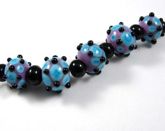 Free Shipping for this Turquoise and Purple and Black Handmade Glass Bead Set