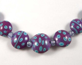 Purple Lentil Handmade Lampwork Glass Bead Set with Turquoise Accents and Micro Dichros