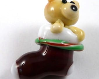 What a Cute Teddybear in That Christmas Stocking That is Really a Handmade Glass Bead