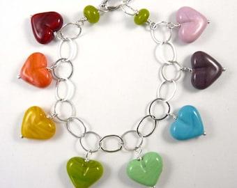 Rainbow of Handmade Mini Glass Hearts in an Adorable Charm Bracelet
