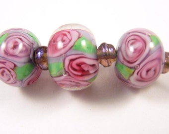 Free Shipping for this Trio of Encased Handmade Rose Beads in Purple with Pink Roses