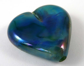 Free Shipping for this Beautiful Handmade Glass Heart Focal Bead Using Gaia Glass by Double Helix