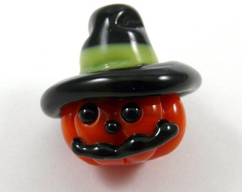 Happy Halloween Handmade Glass Jack o lantern with a Witch Hat