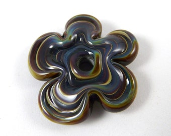 Free Shipping for this Handmade Adorable Funky Flower Bead Made with Raku Glass