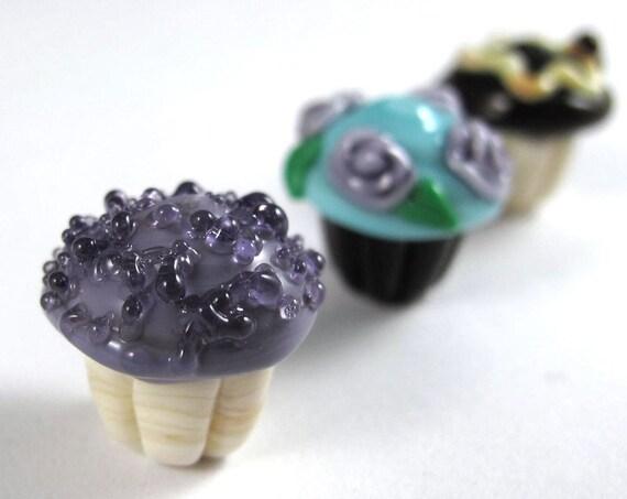 Trio of Small Handmade Glass Cupcake Beads