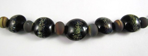 Free Shipping for this Set of Raku Sprinkled Black Lentil Beads with Frosted Micro Rakus