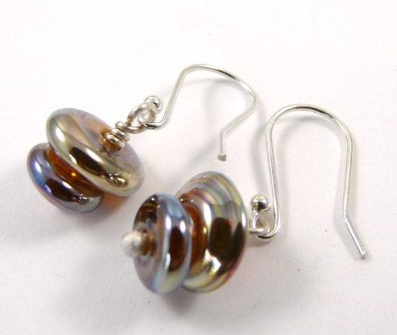 Free Shipping for this Lovely Little Pair of Aurae Handmade Glass Double Bead Earrings