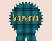 Achievement - 4x6 Teal Plaid Print - Modern Equestrian - College Dorm Decor Graduation Gift - Office