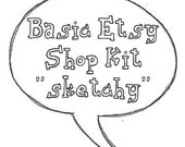Premade Etsy Shop Set with Banner and Avatar Sketchy Comic Design