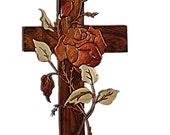 Rose Intarsia Cross