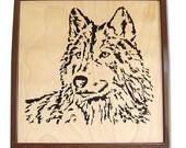 Timber Wolf  Original Art Portrait  -  Wolf Series 'Art Blocks'