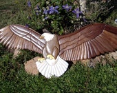 Eagle with Open Wings Intarsia Sculpture