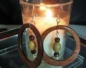 Jasper and Walnut Hoop Earrings