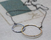 two tone interlocked circles necklace