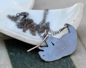 three toed sloth necklace- oxidized hand cut silhouette