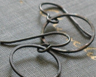 small oxidized hoop earrings- forged silver circles