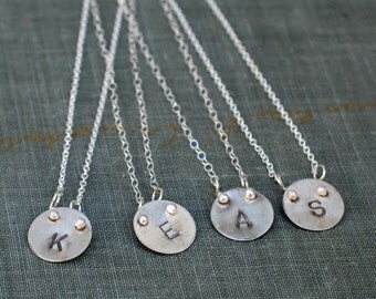 Personalized Silver Initial Necklaces- bridesmaids, best friends, family gifts