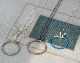 Rustic Circle Necklace- eternity necklace- mixed metals in blue, brass or verdiris