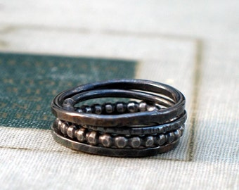 oxidized silver stacking rings- set of 4