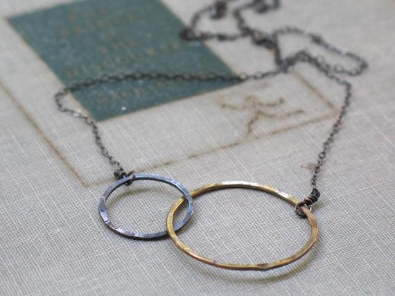 two tone interlocked circles necklace