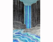 Waterfall (white line woodblock print) 17X26 inches