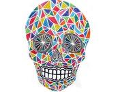Crystal Skull original white line woodblock print
