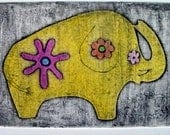 Elephant etching (original collagraph print)
