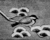 Original Etching Print Winter Chickadee