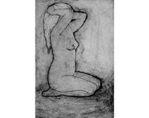 Nude Figure Study hand pulled collagraph print