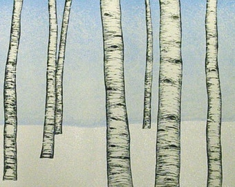 Winter Aspen trees woodblock print landscape