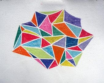 crystalline (original white line woodblock print)