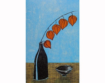 Gifts original woodblock print still life orange lantern plant