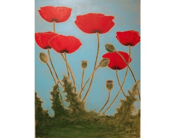 Poppies Original 18X24 inch Woodblock print Monoprint