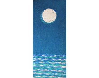 Moon and Sea II  woodblock print moku hanga