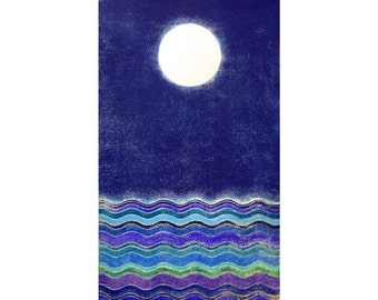 Moon and Sea III (18X30 Original Woodblock Print)