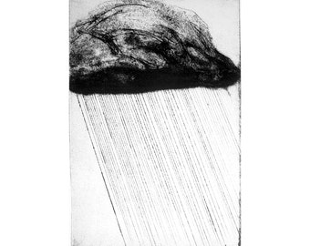 Cloudburst etching (original carborundum print) rain cloud