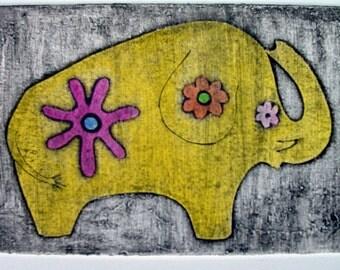 Elephant etching (original collagraph print)