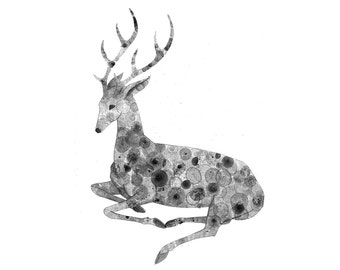 Stag Print 8X10 (ink bubble drawing reproduction print) wall art